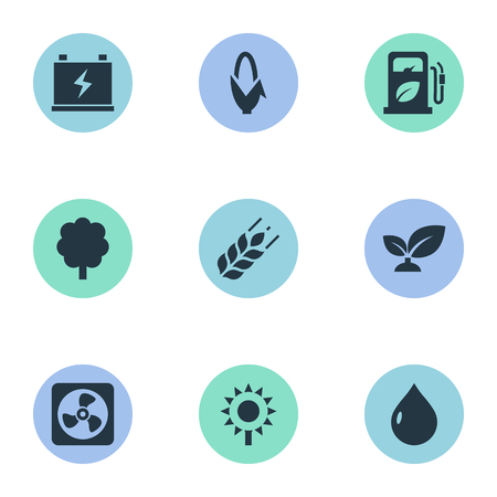 Vector Illustration Set Of Simple Energy Icons. Elements Blossom, Forest, Droplet And Other Synonyms Nature, Barley And Grain.