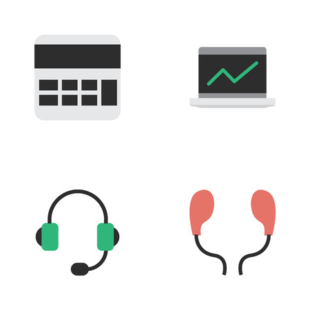 multiply: Vector Illustration Set Of Simple Instrument Icons. Elements Accounting, Notebook, Microphone And Other Synonyms Statistics, Headphone And Screen.