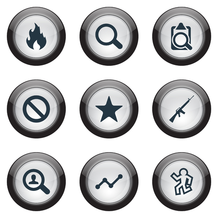 Vector Illustration Set Of Simple Crime Icons. Elements Magnifier, Police, Violence And Other Synonyms Police, Machine And Document.
