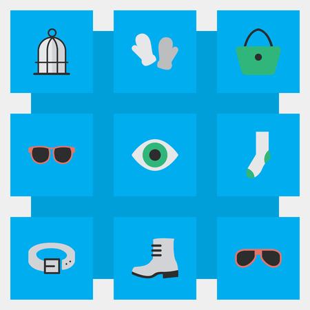 シンプルな楽器アイコンのベクター イラスト セット。要素女性のバッグ、ストラップ、メガネ、他類義語目刑務所し、靴下。  イラスト・ベクター素材
