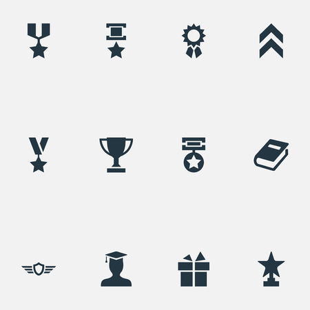 Vector Illustration Set Of Simple Trophy Icons. Elements Trophy, Prize, Guard And Other Synonyms Reward, Victory And Achievement.