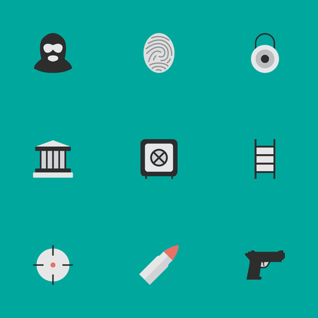 Vector Illustration Set Of Simple Offense Icons. Elements Vault, Criminal, Lock And Other Synonyms Grille, Criminal And Protected.