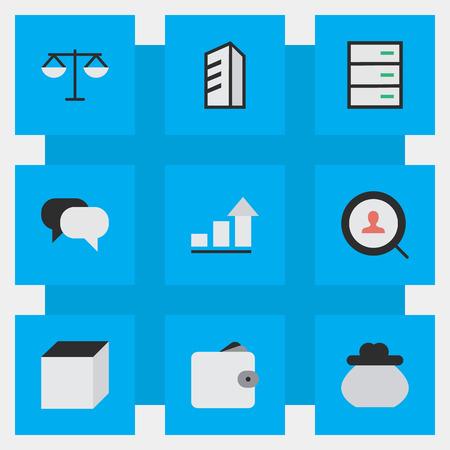 Illustration vectorielle définie des icônes simples de l'entreprise. Elements Purse, Apartment, Square et autres synonymes Locker, Conversation Et Réunion. Banque d'images - 83659975