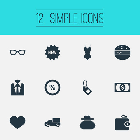 Vector Illustration Set Of Simple Sale Icons. Elements Purse, Uniform, Label And Other Synonyms Uniform, Butty And Underwear.