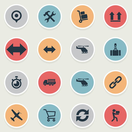 Vector Illustration Set Of Simple Logistics Icons. Elements Relation, Reverse, Cycle And Other Synonyms Link, Pushcart And Lifting. Illustration
