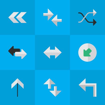벡터 일러스트 레이 션 간단한 화살표 아이콘의 집합입니다. 요소 가져 오기, 내보내기, Chaotically 및 기타 동의어는 항상, 내보내기 및 화살표.