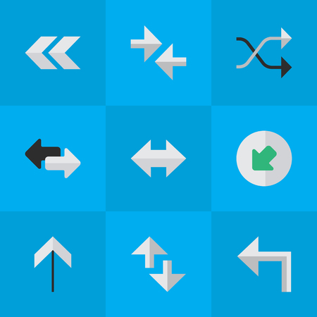Vector Illustration Set Of Simple Arrows Icons. Elements Import, Export, Chaotically And Other Synonyms Everyway, Export And Arrow. Illustration