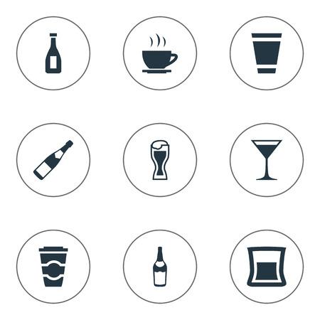 単純な飲み物アイコンのベクター イラスト セット。要素ティー、ガラス、ラガー、他の同義語のコスモポリタン カップとビール。  イラスト・ベクター素材