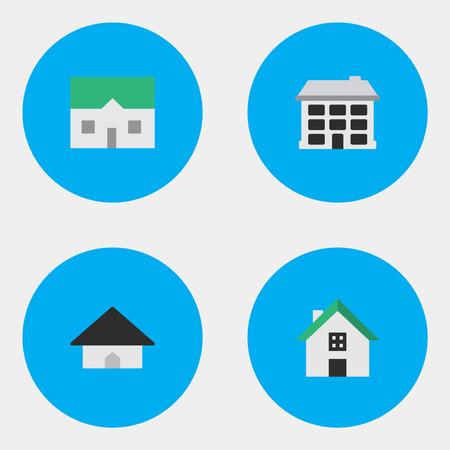 単純なプロパティのアイコンのベクトル イラスト セット。要素の家、構造、ホームと他類義語ホーム、建物と家。