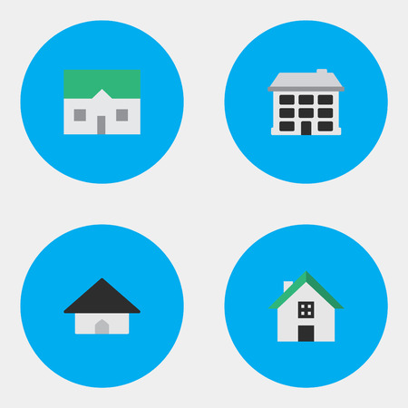 Vector Illustration Set Of Simple Property Icons. Elements House, Structure, Home And Other Synonyms Home, Building And House.