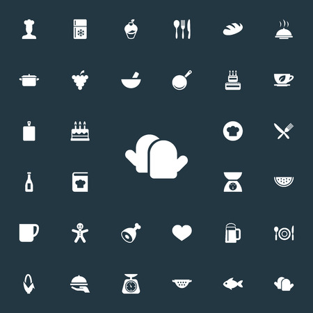 Vector Illustration Set Of Simple Food Icons. Elements Hot Dish, Friedge, Weighing And Other Synonyms Cook, Pot And Restaurant. Ilustrace