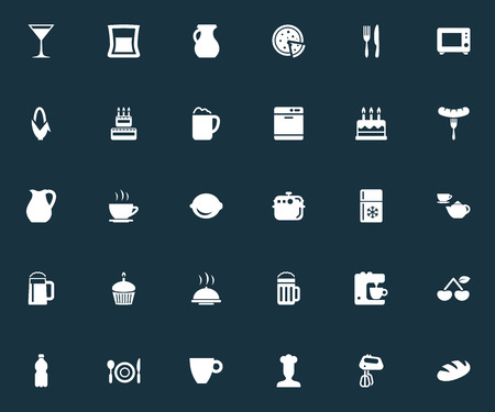 Vector Illustration Set Of Simple Gastronomy Icons. Elements Beverage, Lager, Cocktail And Other Synonyms Jug, Refrigerator And Drink.