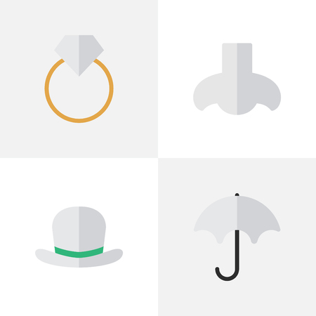 Vector Illustration Set Of Simple Instrument Icons. Elements Engagement, Headgear, Parasol And Other Synonyms Umbrella, Scent And Wear. Illustration