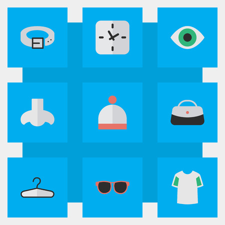Vector Illustration Set Of Simple Instrument Icons. Elements Strap, Jersey, Glasses And Other Synonyms Scent, Waist And Hat. Illustration