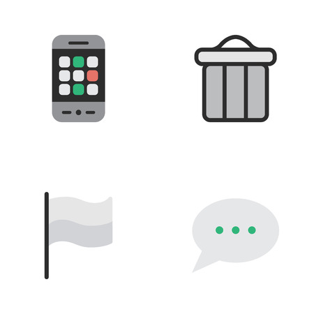 Vector Illustration Set Of Simple UI Icons. Elements Flag, Message Bubble, Trashcan And Other Synonyms Phone, Pointer And Smartphone.