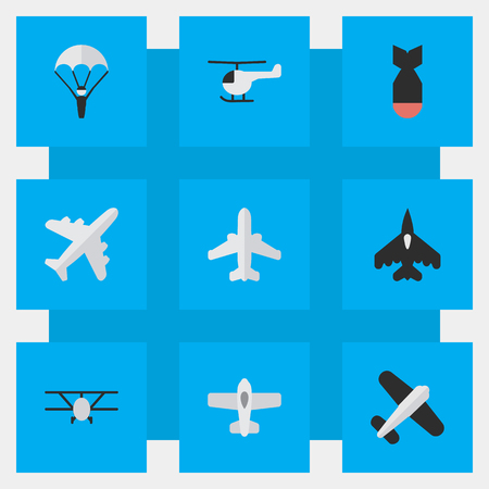 Vector Illustration Set Of Simple Aircraft Icons. Elements Flying Vehicle, Airliner, Airplane And Other Synonyms Bomb, Aviation And Craft. Illustration