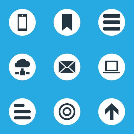 Vector illustratie Set van eenvoudige Apps iconen. Elementen Smartphone, opwaartse richting, vlag en andere synoniemenlaptop, computer en bladwijzer.