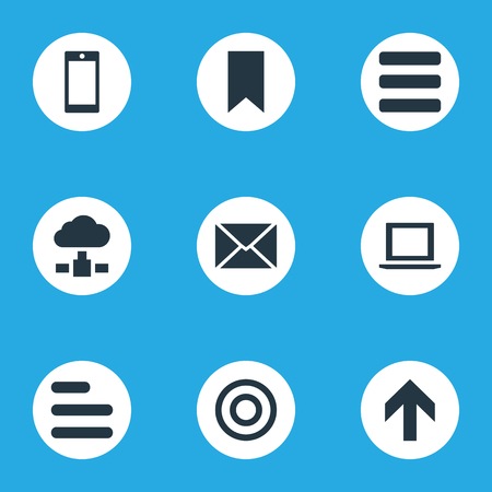 Vector Illustration Set Of Simple Apps Icons. Elements Smartphone, Upward Direction, Flag And Other Synonyms Laptop, Computer And Bookmark.