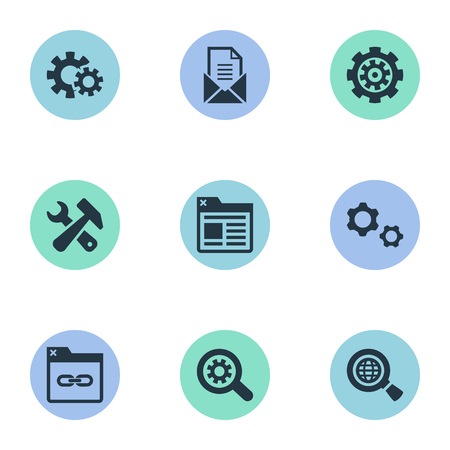 Vector Illustration Set Of Simple Optimization Icons. Elements Letter, Gear, Mechanism And Other Synonyms Cogwheel, Link And Optimization. Illustration