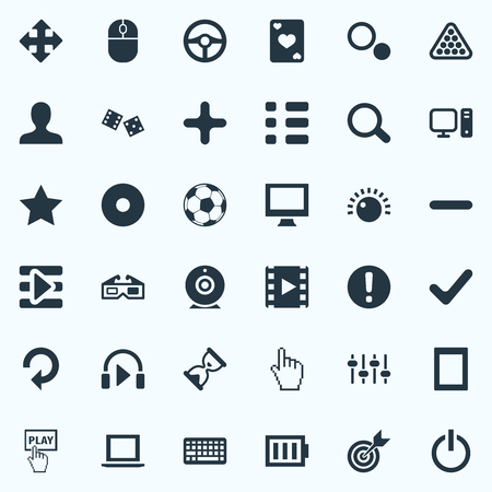Vector Illustration Set Of Simple Leisure Icons. Elements Mixer, Monitor, Football And Other Synonyms Battery, Sky And Casino. 向量圖像