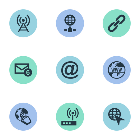 Vector Illustration Set Of Simple Network Icons. Elements Inbox, Finger Click, Antenna And Other Synonyms Spreading, Router And Tower. 向量圖像