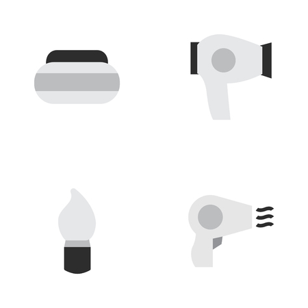 シンプルなファッションのアイコンのベクトル イラスト セット。要素乾燥機、瓶、ブロー ドライヤー、他の同義語は瓶、乾燥ボックスします。