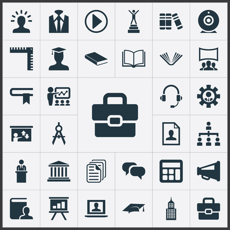 Vector Illustration Set Of Simple Speaker Icons. Elements Encyclopedia, Graduation Cap, Personal Suitcase And Other Synonyms Headphones, Profile And Lecture. Çizim