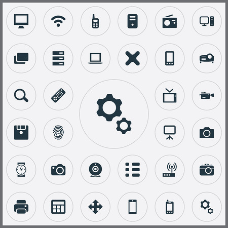 refuse: Vector Illustration Set Of Simple Device Icons. Elements Layout, Schedule, Touchscreen And Other Synonyms Radio, Wifi And Connection.