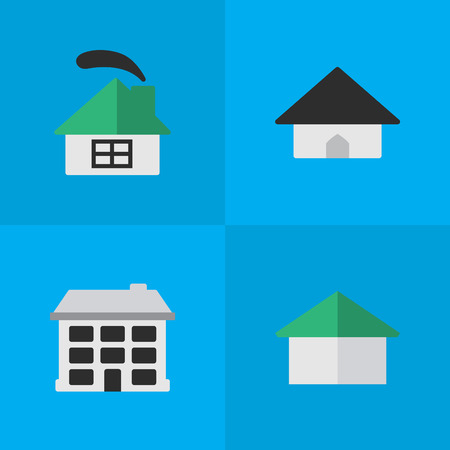 シンプルな本物のアイコンのベクトル イラスト セット。要素構造アーキテクチャ ベースとその他類義語建物、家、家。  イラスト・ベクター素材