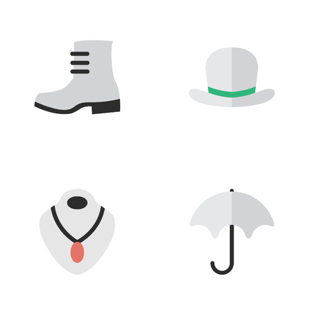 Vector Illustration Set Of Simple Equipment Icons. Elements Boot, Headgear, Parasol And Other Synonyms Umbrella, Shoe And Rain.