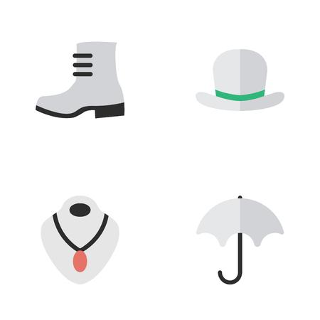Vectorillustratiereeks Eenvoudige Materiaalpictogrammen. Elementen Boot, hoofddeksels, parasol en andere synoniemen Paraplu, schoen en regen. Stock Illustratie