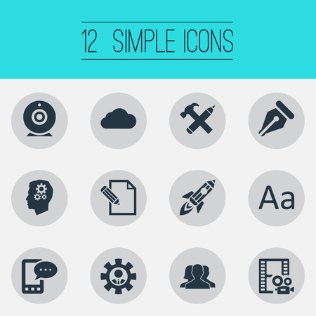 Vector Illustration Set Of Simple User Icons. Elements Broadcast, Video, Document And Other Synonyms Typography, Mind And Phone.
