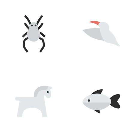 Vector Illustration Set Of Simple Animals Icons. Elements Steed, Perch, Crane And Other Synonyms Fish, Widow And Hoof.