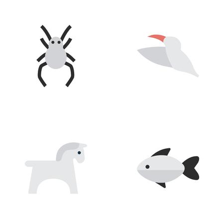 Vector illustratie Set van eenvoudige dieren pictogrammen. Elementen ros, baars, kraan en andere synoniemenvis, weduwe en hoef.