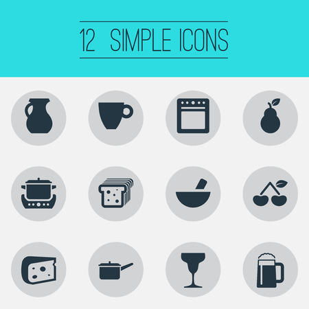 Vector Illustration Set Of Simple Cuisine Icons. Elements Wineglass, Bread, Grinder And Other Synonyms Cup, Bartlett And Casserole. Illustration