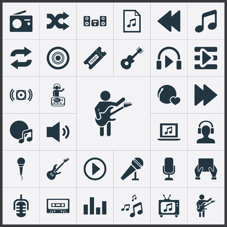 Vector Illustration Set Of Simple Sound Icons. Elements Album, Speech, Coupon And Other Synonyms Record, Meloman And Song. Imagens - 83660045