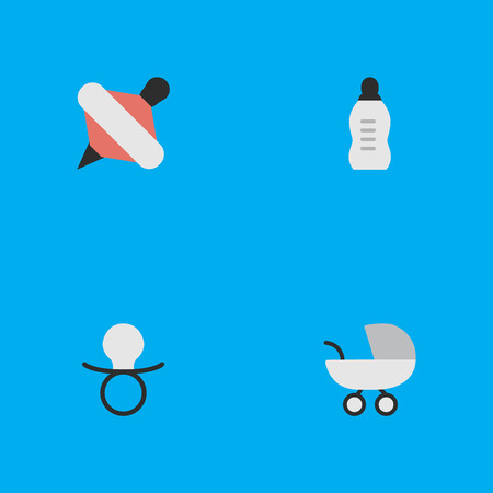Vector Illustration Set Of Simple Child Icons. Elements Yule, Nipple, Vial And Other Synonyms Yule, Pacifier And Bottle. Иллюстрация