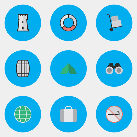 Vector Illustration Set Of Simple Travel Icons. Elements Smoke Forbidden, Bag, Sea Rescue And Other Synonyms Castle, Camping And Luggage.