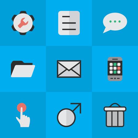 Illustration vectorielle définie des icônes de conception simple. Paramètres des éléments, bouton de commutation, signe Mars et autres paramètres de synonymes, bin et bulle. Banque d'images - 83660049