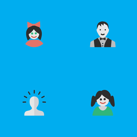 Vector Illustration Set Of Simple Person Icons. Elements Girl, Female, Male And Other Synonyms Girl, Female And Woman.
