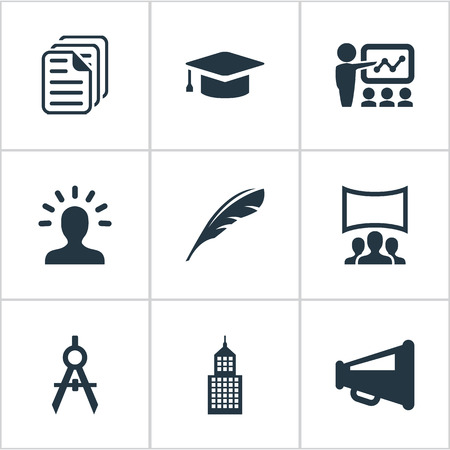 Vector Illustration Set Of Simple Conference Icons. Elements Demonstration, Imagination, Architect Drafting And Other Synonyms Pen, Documents And Presentation.