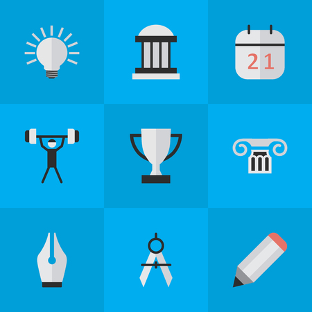 Vector Illustration Set Of Simple Education Icons. Elements Date Block, University, Goblet And Other Synonyms Award, Bodybuilding And Pen. Ilustração