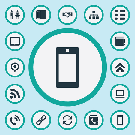 Vector Illustration Set Of Simple Communication Icons. Elements House Location, Palmtop, Company Number And Other Synonyms Phone, Computer And Refresh. Illustration
