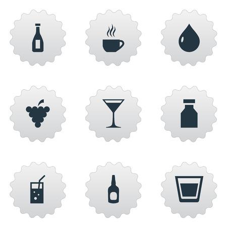 Ilustración vectorial Conjunto de iconos de bebidas simples. Elementos Líquidos, Cosmopolitan, Vial Y Otros Sinónimos Bar, Martini Y Líquido. Foto de archivo - 83660059