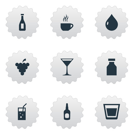 Vector Illustration Set Of Simple Beverage Icons. Elements Liquid, Cosmopolitan, Vial And Other Synonyms Bar, Martini And Liquid.
