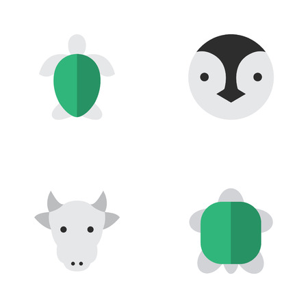 Vector Illustration Set Of Simple Animals Icons. Elements Kine, Tortoise, Turtle And Other Synonyms Turtle, Tortoise And Bird.