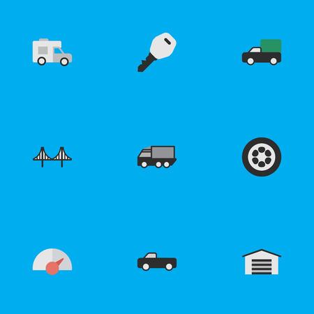 簡単な出荷アイコンのベクター イラスト セット。要素ホイール、ピックアップ、小屋および他の類義語のトラックを一周し、表示します。