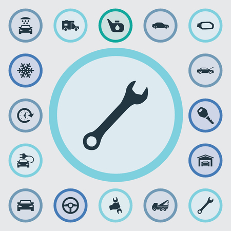 automotive industry: Vector Illustration Set Of Simple Automobile Icons. Elements Snowflake, Carriage Wash, Steering Wheel And Other Synonyms Garage, Trailer And Truck.