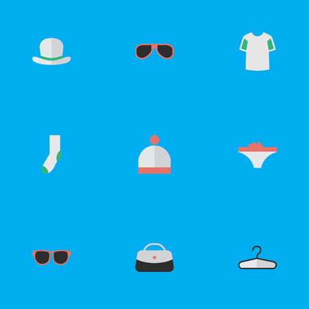 Vector Illustration Set Of Simple Equipment Icons. Elements Headgear, Clothes Hook, Handbag Synonyms Lingerie, Fedora And Foot.