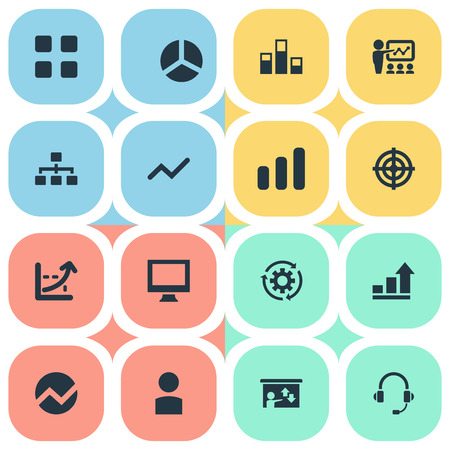 Vector Illustration Set Of Simple Seminar Icons. Elements Increase Graph, Segment, Vector And Other Synonyms Technology, Seminar And Avatar. Illustration